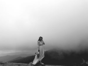planning a small wedding bride in fog black and white